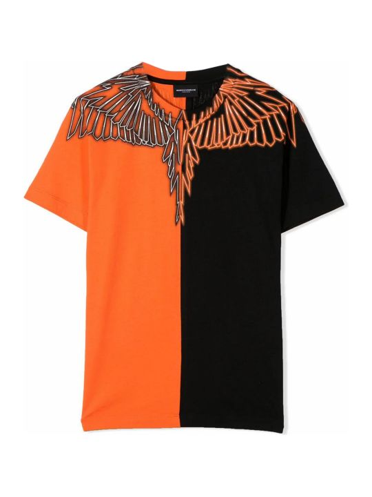 Marcelo Burlon Black And Orange Cotton T-shirt