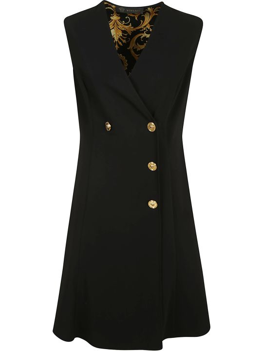 Versace Double-breasted V-neck Short Dress