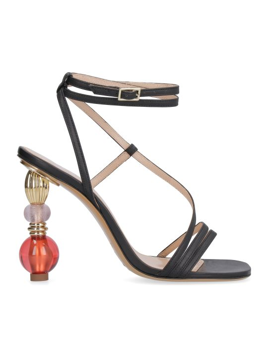 Jacquemus Bordighera Leather Sandals With Sculpture Heels