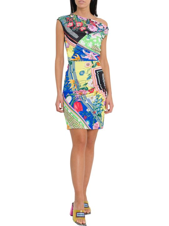 Versace Draped Mini Dress With Floralmania Print