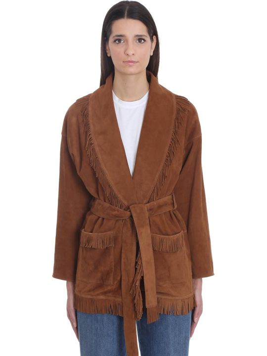 Alanui Suede Oversized Cardigan In Brown Leather