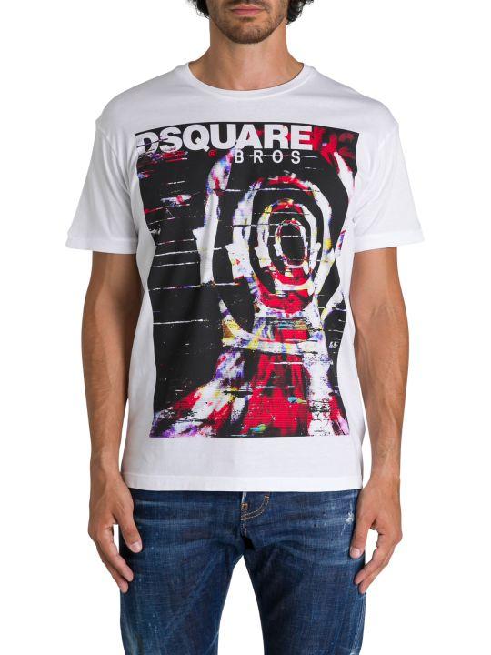 Dsquared2 T-shirt Girocollo A Maniche Corte Con Stampa Frontale