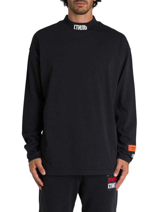 HERON PRESTON T-shirt Collo Alto A Maniche Lunghe Con Ctnmb Sul Collo