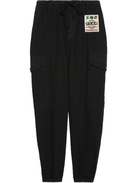 Gucci Herringbone Cotton Catgo Trousers