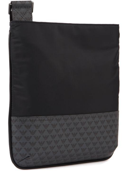 Emporio Armani Black Polyester Logo Shoulder Bag