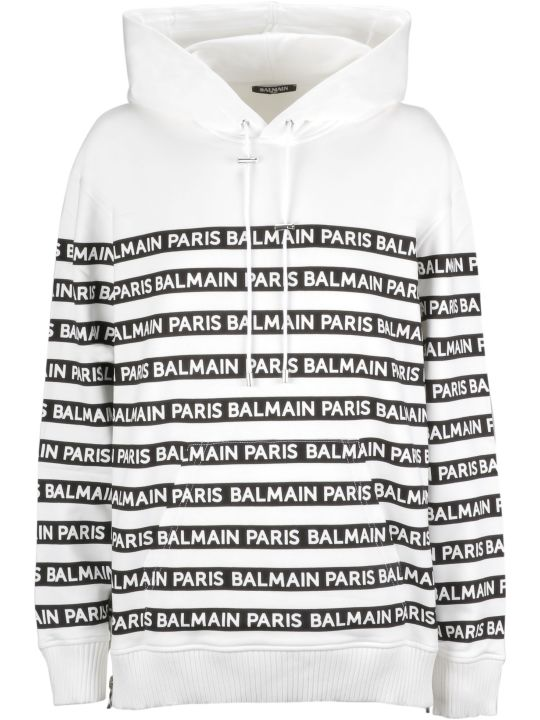Balmain Logo Print Hoodie Jacket