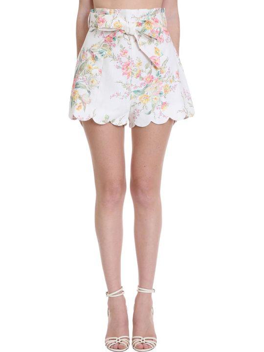 Zimmermann Zinnia Shorts In White Cotton