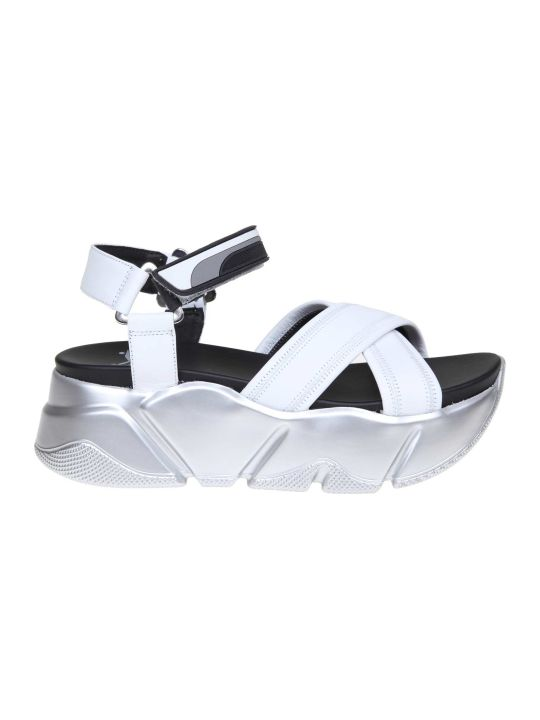 Voile Blanche Morena Sandal In Leather White Color
