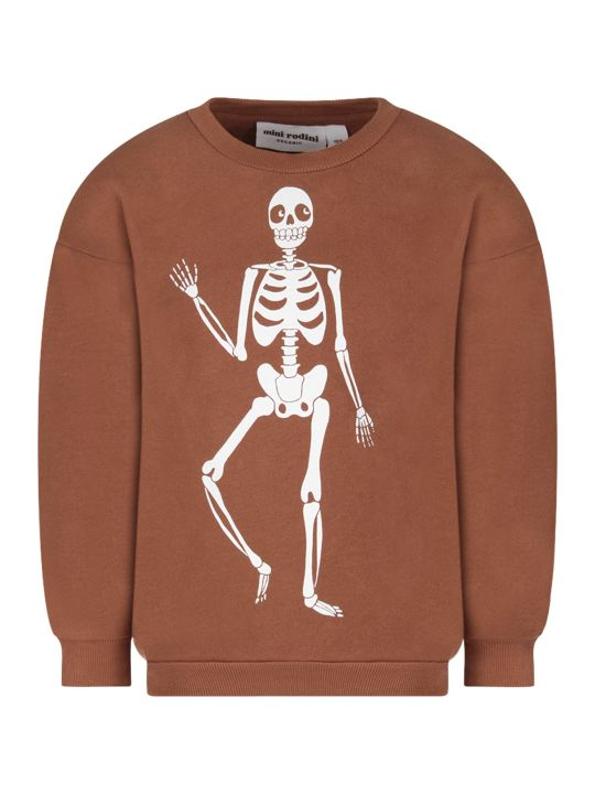 Mini Rodini Brown Kids Sweatshirt With Hite Skeleton
