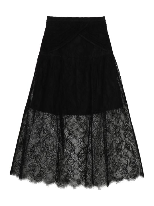 self-portrait Lace Midi Skirt