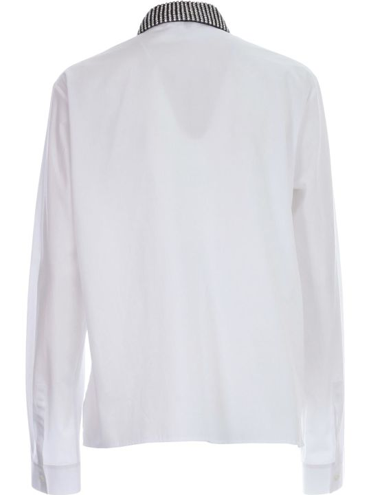 Haider Ackermann Byron Shirt Cotton Popeline Neck Crystal Hand Embroidery