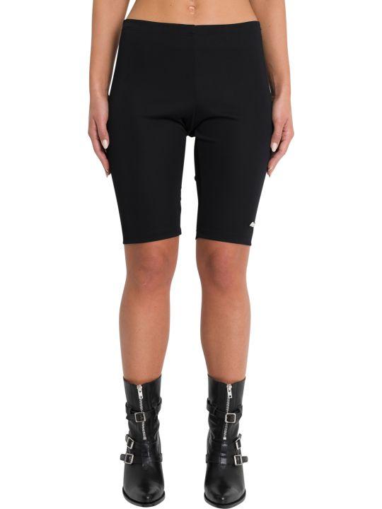 MSGM Black Logo Patch Biker Shorts