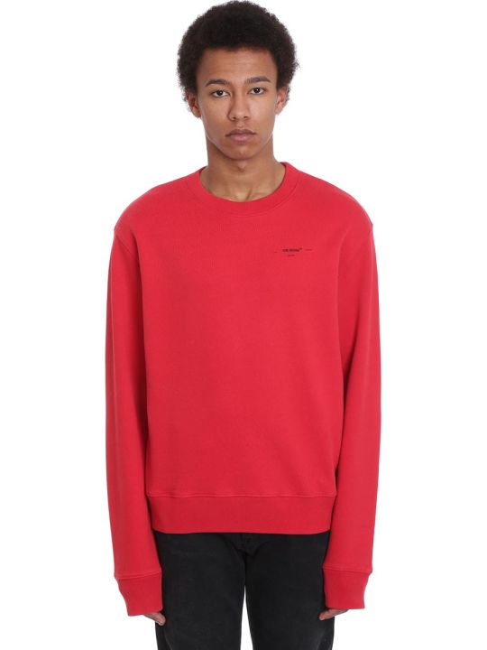 Off-White Arrow Logo Sweatshirt In Red Cotton