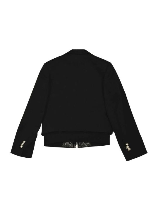 Balmain Black Teen Jacket With Buttons And Zip