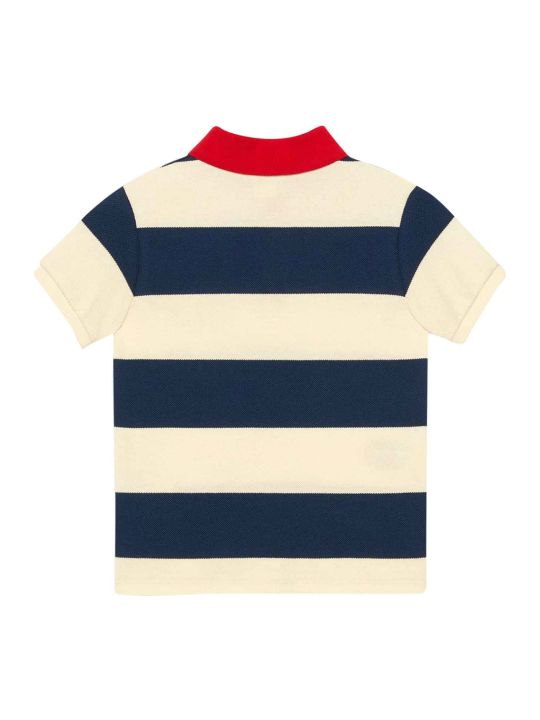 Gucci White And Blue Polo Shirt With Red Details And Logos