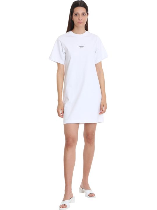 Acne Studios Elleni Stamp Dress In White Cotton