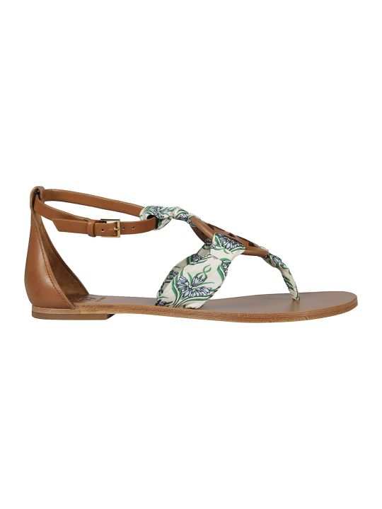 Tory Burch Scarf Detail Flat Sandals