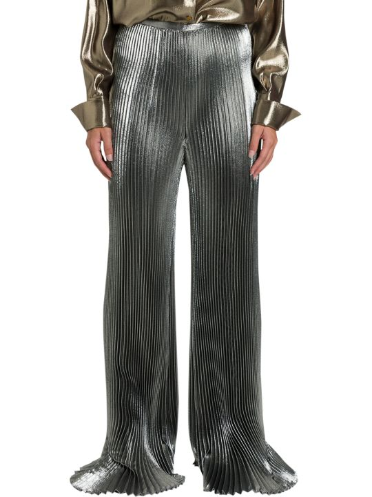 Alberta Ferretti Pleated Pants In Silver Lamé