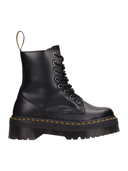 Dr. Martens Jadon Combat Boots In Black Leather