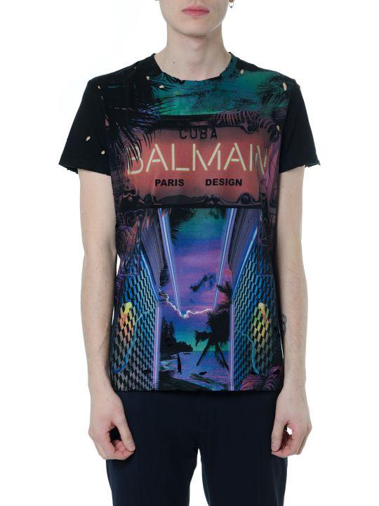 Balmain Cuba Balmain Black Multicolor Cotton T-shirt
