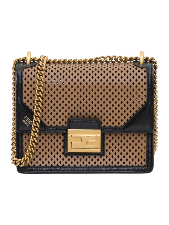 Fendi Runway Shopping Large Bag 36 X 44 X 19 Cm In Perforated Calf Liberty On Old Shiny Leather