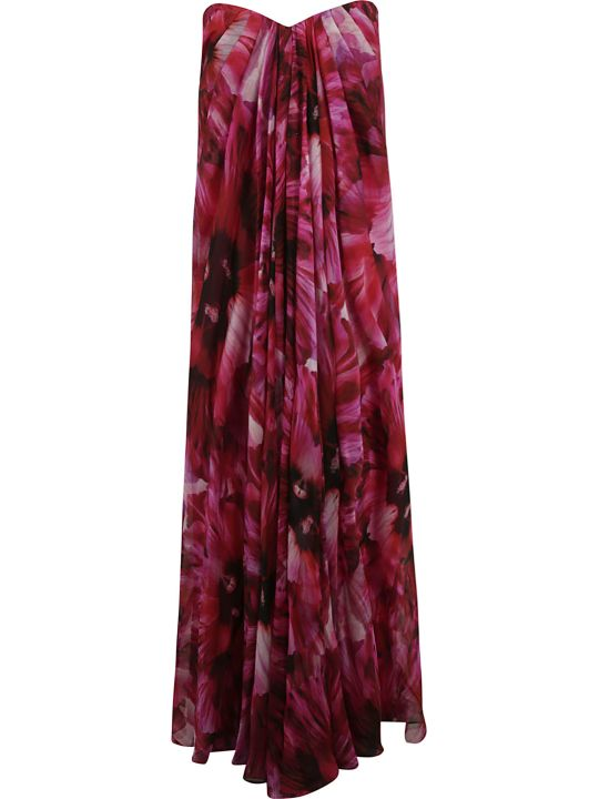 Alexander McQueen Floral Print Off-shoulder Long Dress