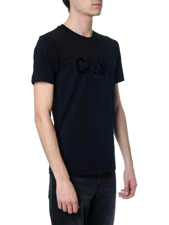 Calvin Klein Black Cotton T-shirt With Embossed Logo