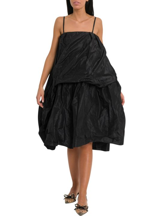 Simone Rocha Black Silk Taffeta Apron Front Dress