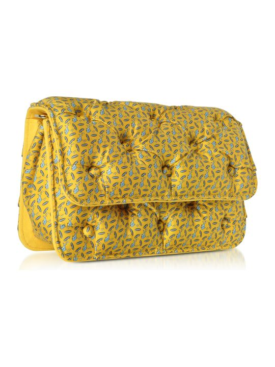 Benedetta Bruzziches Sharks Printed Yellow Satin Silk Carmen Shoulder Strap