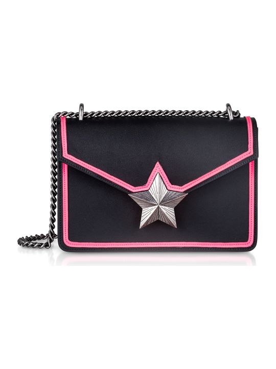 Les Jeunes Etoiles Black & Neon Pink Leather New Vega Trim Shoulder Bag