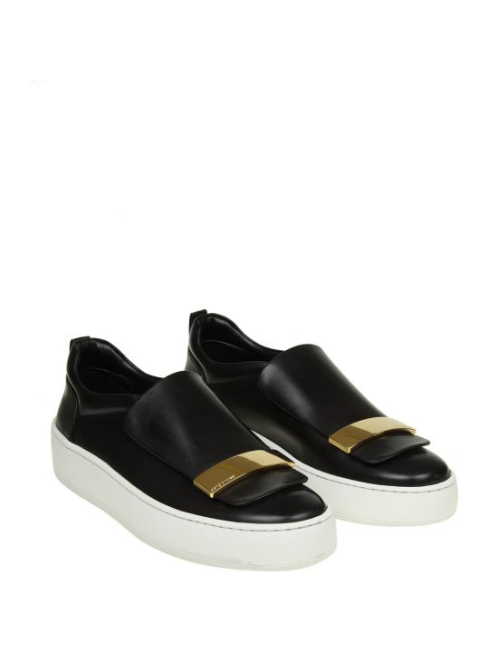 Sergio Rossi Slip-on In Black Leather With Metal Plate In Gold Contrast