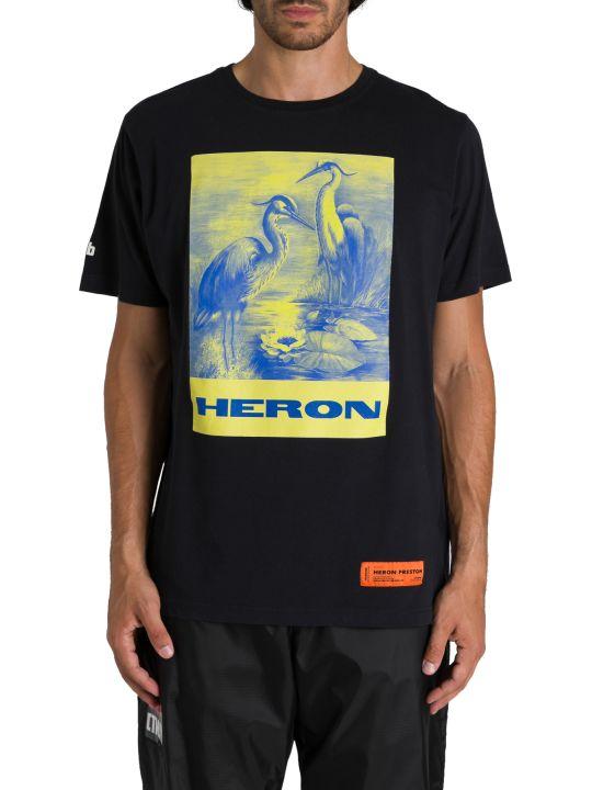 HERON PRESTON T-shirt Girocollo A Maniche Corte Stampa Aironi In Giallo