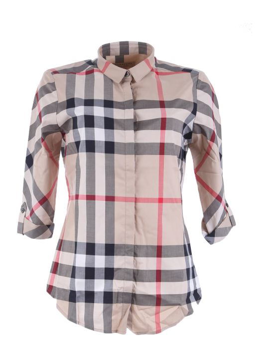 Burberry Beige Check Printed Shirt