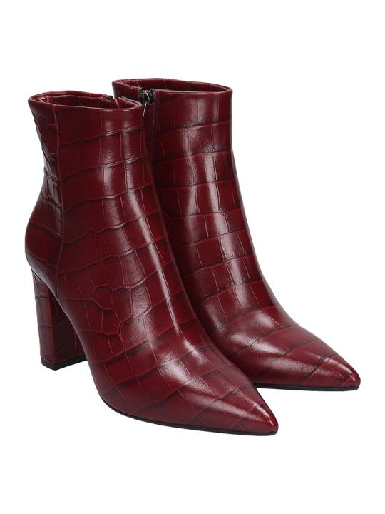 The Seller High Heels Ankle Boots In Bordeaux Leather