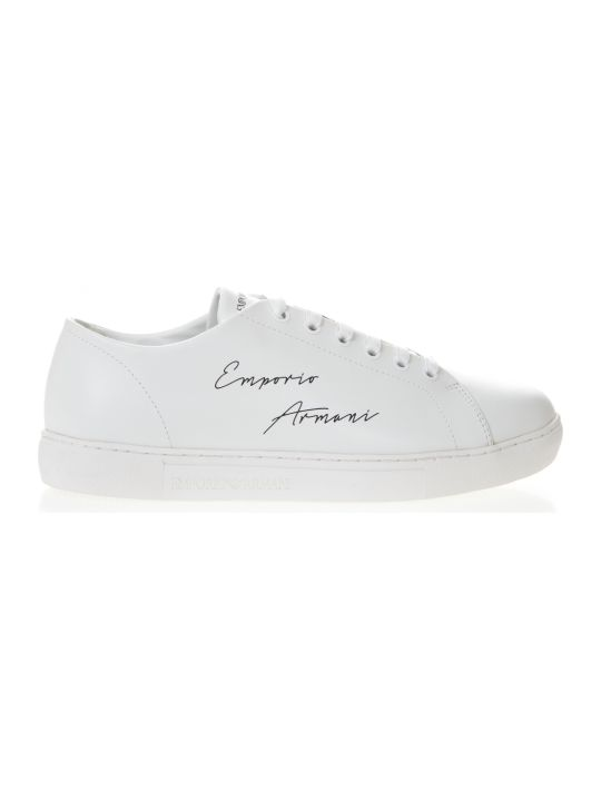 Emporio Armani White Leather Sneakers With Emporio Armani Written