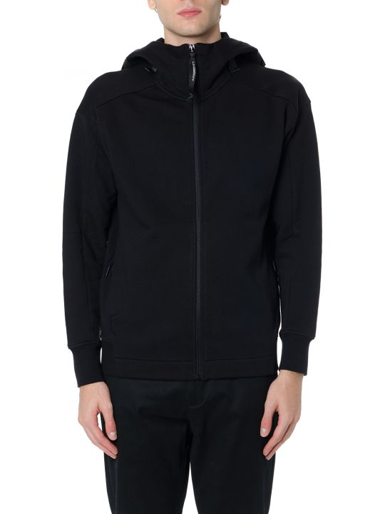 C.P. Company Black Cotton Zipped Sweatshirt