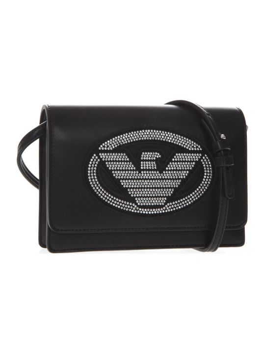 Emporio Armani Embellished Logoed Black Faux Leather Shoulder Bag