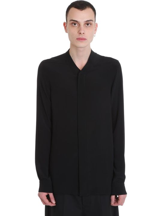 Rick Owens Faun Shirt Shirt In Black Tech/synthetic