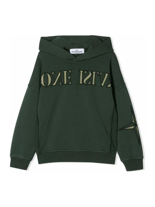 Stone Island Green Cotton Hoodie