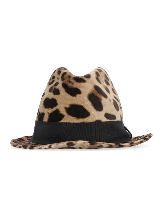 Dolce & Gabbana Leopard Print Fedora