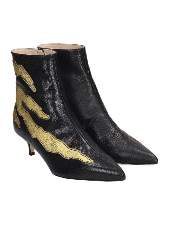 GIA COUTURE High Heels Ankle Boots In Black Leather