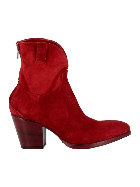 Rocco P. Suede Red Ankle Boots