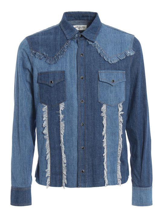 Saint Laurent Frayed Patchwork Denim Shirt