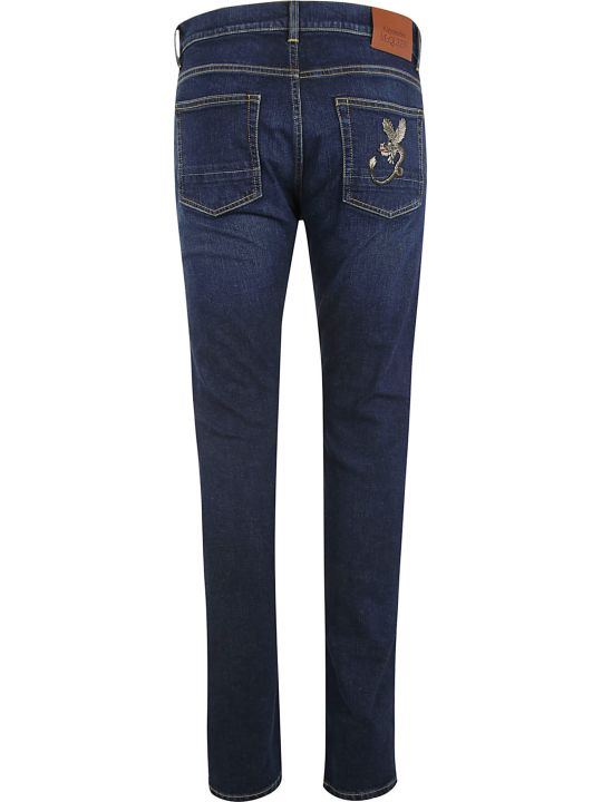 Alexander McQueen Classic Fitted Embroidered Patch Detail Jeans