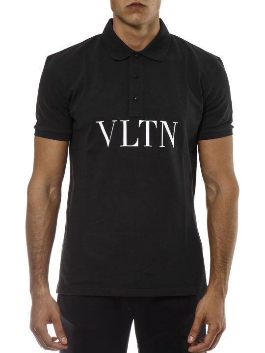 Valentino Black Cotton Polo Shirt With Vltn Logo