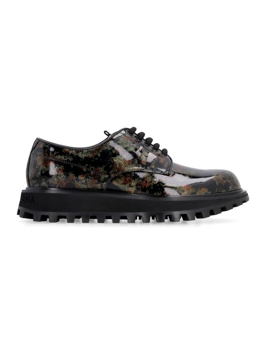 Dolce & Gabbana Glittered Patent Leather Derby Shoes