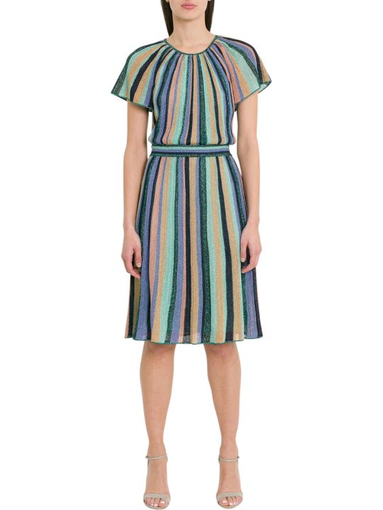 M Missoni Lurex Knit Midi Dress With Multicoloured Stripes Motif