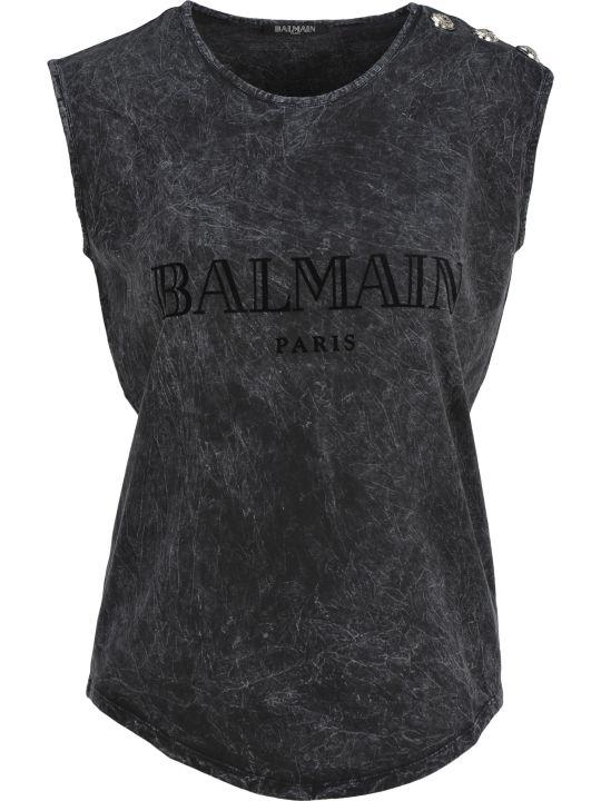 Balmain Tie Dye Logo Tank Top