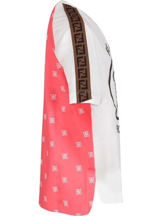 Fendi White And Fuchsia Girl T-shirt With Logo