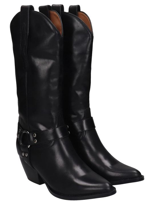 Jeffrey Campbell Armon Low Heels Boots In Black Leather